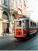 The trolley on Istiklal Caddesi that runs from Tunel to Taksim Square