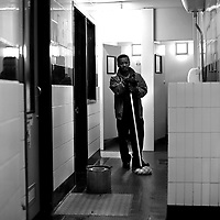 "Part of a series of photos from a photo essay entitled 'Early Birds'-A look at Night Workers in the City of London..2.00am. Glasford ""Glass"" Downer who has worked for the Corporation of London for 8 years, started work as a Convenience Attendant at the public Toilets near Smithfield Market on August 13th 2001. His hours of work are from 2am until 9.24am Monday to Friday. Recently divorced father of two, 'Glass' moved from Jamaica in 1960 and now lives on the Old Kent Road, south London..Photo©Steve Forrest"