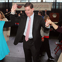 (Boston, MA - 1/5/14) Mayor-elect Marty Walsh dances with Sabina Taylor, 75, of East Boston, left, and Lin Wang, 67, of Boston, during an Inaugural Senior Brunch at Northeastern University, Sunday, January 05, 2014. Staff photo by Angela Rowlings.