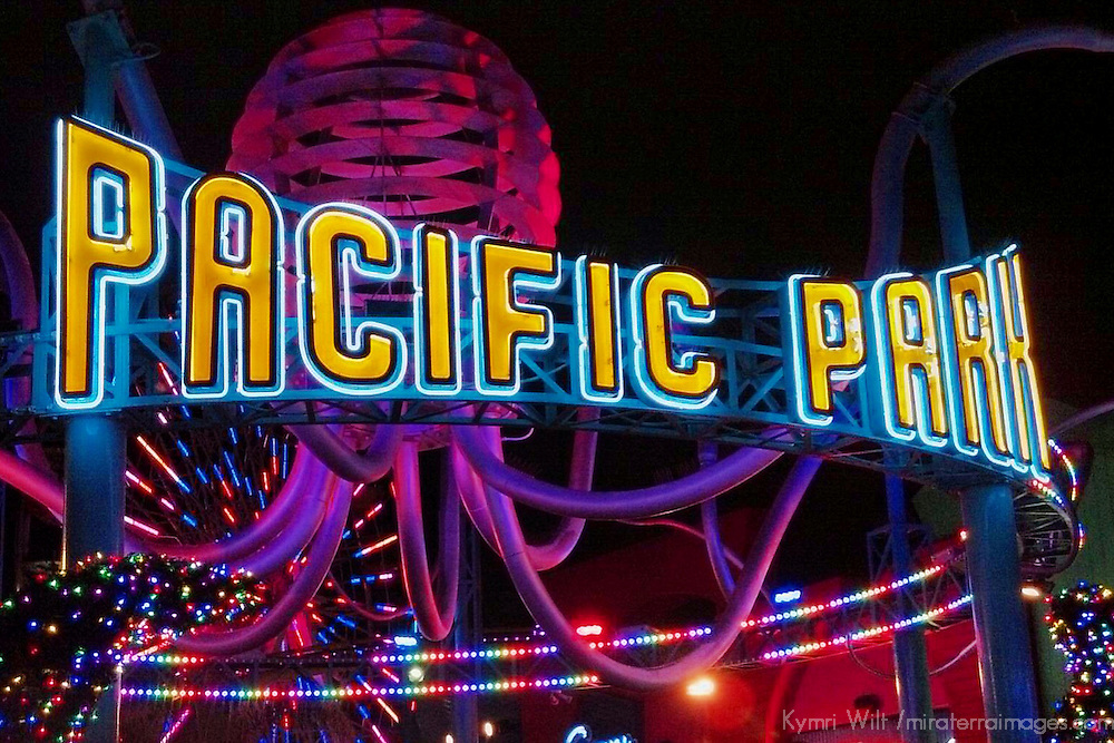 USA, California, Los Angeles. Pacific Park on Santa Monica Pier, by night.