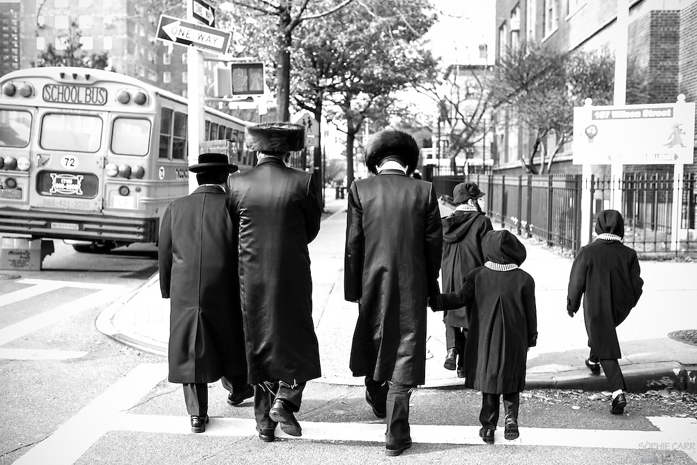 Hasidic Jews in South Williamsburg, Brooklyn, New York, during Hanukkah