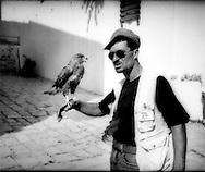 Falconer in Sidi Bou Said, Tunisia.