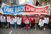 The Chicago Teachers Union and allies march downtown on September 11, 2012.