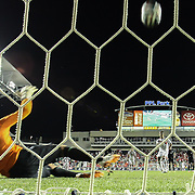 Costa Rica Midfielders Celso Borges (5) score on a penalty kick as Republic of Ireland Goalkeepers David Forde (1) attempts to defend in the second half of the inaugural freedom cup between Ireland and Costa Rica Friday. June. 6, 2014 at PPL Park in Chester PA.