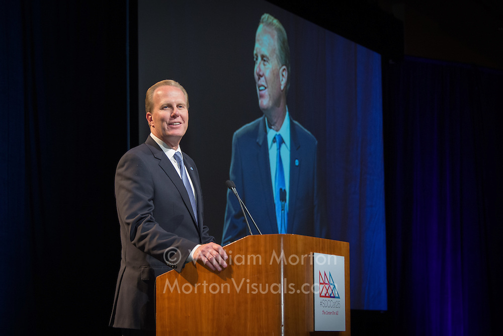 Mayor Kevin Faulconer speaks at the 25th anniversary of the San Diego Convention Center. Photography by Dallas event photographer William Morton of Morton Visuals event photography.