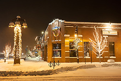 """Downtown Truckee 13"" - Photograph of a snow covered sidewalk by Bar of America in Downtown Truckee, CA. Photographed in the early morning."