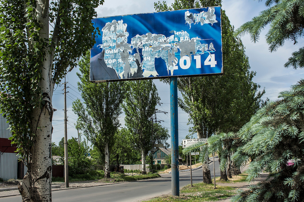 KRASNOARMIISK, UKRAINE - MAY 25:   A billboard for a candidate which has had all the information removed stands along the road on May 25, 2014 in Krasnoarmiisk, Ukraine. The elections are widely viewed as crucial to taming instability in the eastern part of the country. (Photo by Brendan Hoffman/Getty Images) *** Local Caption ***