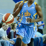 Chicago Sky Guard JORDAN JONES (13) dribbles the ball down the floor in the fourth period of a WNBA preseason basketball game between the Chicago Sky and the New York Liberty Sunday, May. 01, 2016 at The Bob Carpenter Sports Convocation Center in Newark, DEL