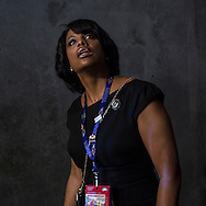 A delegate enters the floor at the Time Warner Cable Arena for the Democratic National Convention on Wednesday, September 5, 2012 in Charlotte, NC.