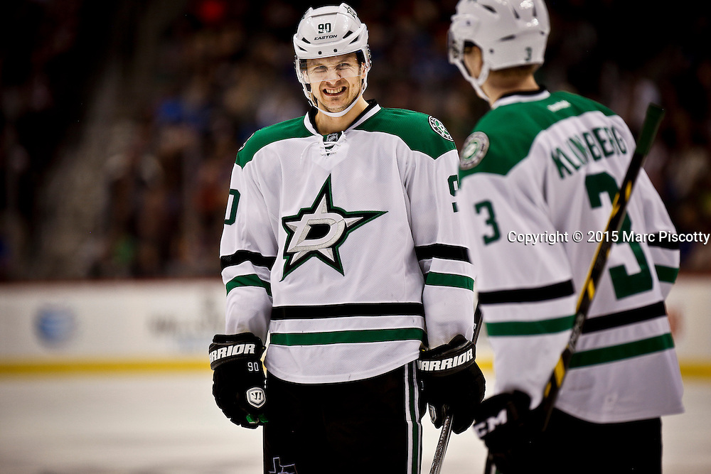 SHOT 1/10/15 4:09:58 PM - The Dallas Stars' Jason Spezza #90 talks with teammate John Klingberg #3 during their regular season game against the Colorado Avalanche at the Pepsi Center in Denver, Co. Colorado won the game 4-3.  (Photo by Marc Piscotty / © 2015)