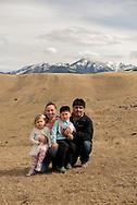 Family, foothills of Absaroka Mountains, southwest of Livingston, Montana, Holliday Family