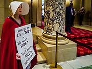 """04 MAY 2017 - ST. PAUL, MN: A woman dressed as a handmaid (from the novel and Hulu series """"A Handmaid's Tale"""") stands at the entrance to the Minnesota State Senate chamber. About 50 people came to a protest to urge Minnesota State Senators to vote against two bills supported by the Republican party that would restrict access to women's health care in Minnesota. The protest was organized by  NARAL Pro-Choice Minnesota, NCJW Minnesota, and Planned Parenthood Minnesota. The Senate passed the bills but Minnesota's Democratic governor is expected to veto the legislation when it reaches his desk.     PHOTO BY JACK KURTZ"""