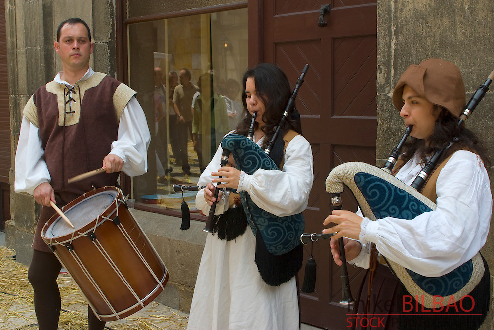 Bagpipers. Medieval Fair. Amorebieta. Biscay. Basque Country. Spain.