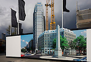 The hoarding showing the future skyscraper being built by housing developer Barratt at Blackfriars Circus at the southern end of Blackfriars Bridge Road, south London borough of Southwark.
