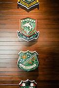Flight emblems at the Peninsula Bangkok heli-pad lounge
