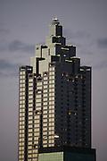 Photo of an Atlanta Skyscraper, office building at dusk.