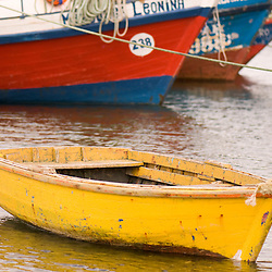 A small yellow dinghy sits among larger fishing vessels in the harbor at Porvenir on New Year's Day.