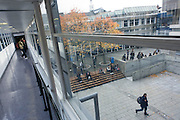 Modern walkway at London Metropolitan University's Holloway Road campus.