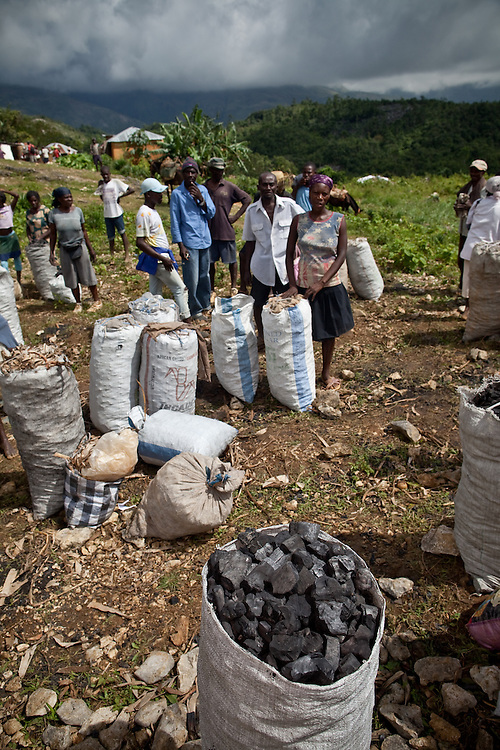 Charcoal being sold at a market near Caye Michel in the Massif de la Hotte, Haiti