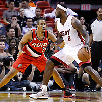 08 March 2011: Portland Trail Blazers point guard Andre Miller (24) defends on Miami Heat small forward LeBron James (6) during the Portland Trail Blazers 105-96 victory over the Miami Heat at the AmericanAirlines Arena, Miami, Florida, USA.