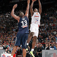 15 July 2012: Serge Ibaka of Team Spain takes a jumpshot over Boris Diaw of Team France during a pre-Olympic exhibition game won 75-70 by Spain over France, at the Palais Omnisports de Paris Bercy, in Paris, France.