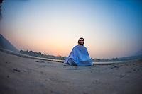 Sunset meditation near the Ganga with Sadhuji