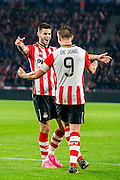 EINDHOVEN - PSV - SC Genemuiden , Voetbal , KNVB Beker , Seizoen 2015/2016 , Philips stadion , 25-10-2015 , PSV speler Gaston Pereiro (l) viert de 2-1 met PSV speler Luuk de Jong (r)