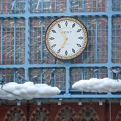 London, UK - 18 April 2013: A new piece of public art, Cloud: Meteoros by Lucy Orta, is unveiled above the Grand Terrace at St Pancras International station.