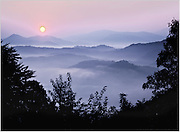 North America, USA, Tennessee, Smoky Mountain National Park at sunset from Foothills Parkway.