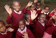 Kenyan school children visit Lake Nakuru with their teachers in a day trip.