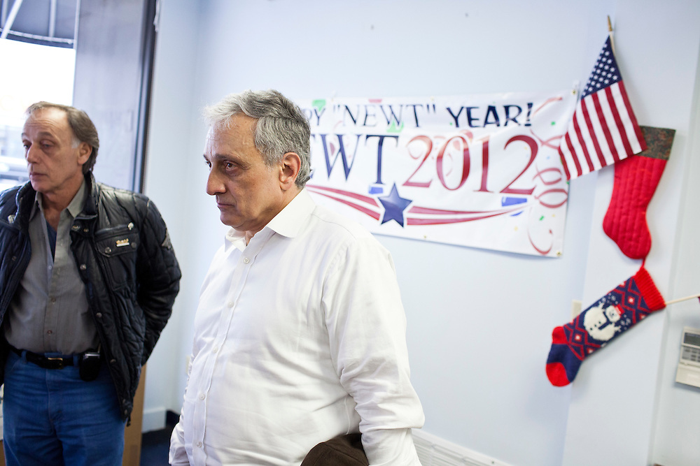 Former New York Republican gubernatorial candidate Carl Paladino with Al Belardinelli, left, at the New Hampshire campaign headquarters for Republican presidential candidate Newt Gingrich on Sunday, January 8, 2012 in Manchester, NH. Brendan Hoffman for the New York Times