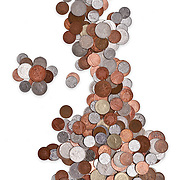 Coins made into the shape of the United Kingdom