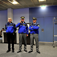Head of the Gendarmerie of the Canton de Vaud attanding the press conference for UN Secretary General Ban KI-moon.