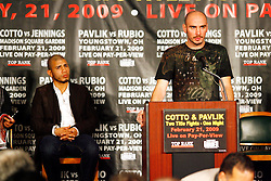 Jan 13, 2009; New York, NY, USA; World Middleweight Champion Kelly Pavlik speaks at the press conference announcing his February 21, 2009 fight against challenger Marco Antonio Rubio.  The two fighters will meet at the Chevrolet Center in Youngstown, Ohio.