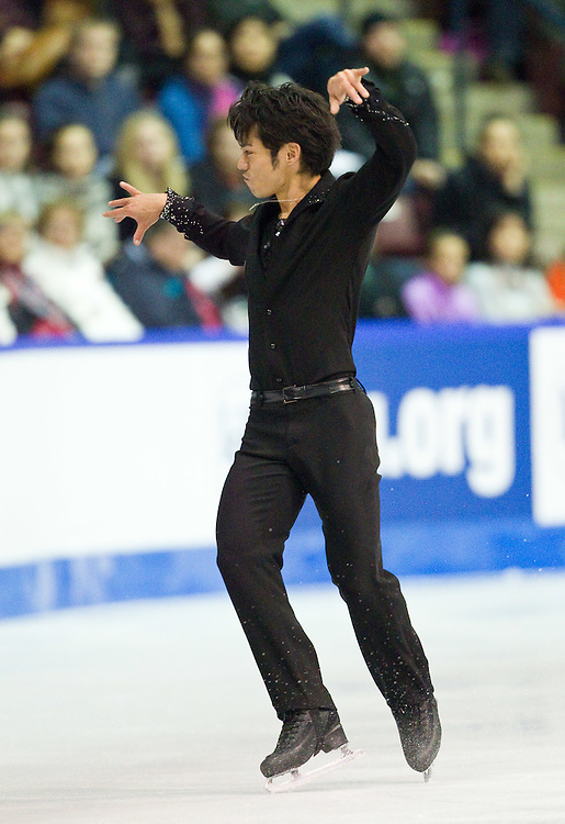 GJR432 -20111029- Mississauga, Ontario,Canada-  Daisuke Takahashi of Japan skates to a bronze medal in the mens competition at Skate Canada International, in Mississauga, Ontario, October 29, 2011.<br /> AFP PHOTO/Geoff Robins