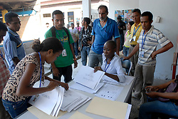 Ballot boxes and other materials are made ready for voting leading up to Timor-Leste Parliamentary Elections. Gleno Ermera District