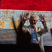 Egyptian Islamist presidential candidate Abdul Moneim Aboul Fotouh waves to supporters during his campaign rally with Egyptian youth April 30, 2012 in Alexandria, Egypt. Aboul Fotouh has gained political momentum in recent days after receiving the endorsement of the conservative Salafist Al-Nour political party.