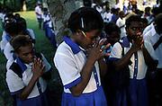 Morning prayer at Marara Primary School West Guadalcanal.The Solomon Islands