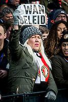 ROTTERDAM - Feyenoord - SC Cambuur , Voetbal , Seizoen 2015/2016 , Eredivisie , Feijenoord Stadion De Kuip , 06-03-2016 , feyenoord supporter met Wan beleid bordje