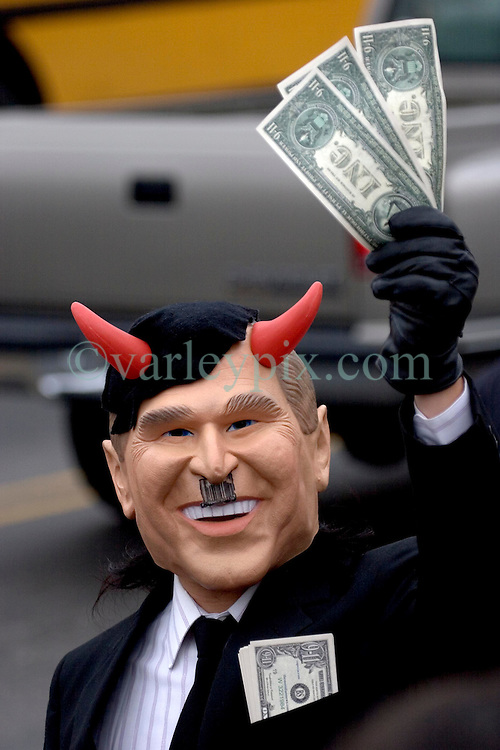 12 Jan 2006. New Orleans, Louisiana. Post Katrina.<br />  An anti-Bush protester takes to the streets in New Orleans as President George Bush comes to town. <br /> Photo; Charlie Varley/varleypix.com