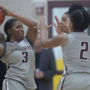 Hodgson Vo-Tech Guard Kayla Braxton-Young (3), LEFT,  tries to pass the ball during a Diamond State Classic game Wed. Dec. 28, 2016 at Saint Elizabeth's High School in Wilmington.