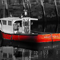 B&amp;W Massachusetts photography of Rockport Harbor featuring the red fishing boat Gussy's Girls on a beautiful sunset night. This harbor is located on Cape Ann, north of Boston. <br /> <br /> This classic New England harbor scenery photography image is available as museum quality photography prints, canvas prints, acrylic prints or metal prints. Fine art prints may be framed and matted to the individual liking and decorating needs:<br /> <br /> http://juergen-roth.pixels.com/featured/massachusetts-cape-ann-rockport-juergen-roth.html<br /> <br /> Good light and happy photo making! <br /> <br /> My best, <br /> <br /> Juergen<br /> Website: www.RothGalleries.com<br /> Twitter: @NatureFineArt<br /> Facebook: https://www.facebook.com/naturefineart<br /> Instagram: https://www.instagram.com/rothgalleries<br /> Photo Blog: http://whereintheworldisjuergen.blogspot.com