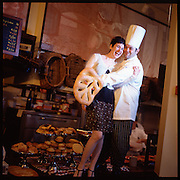 Giovanna and Chef Nick Kustala at their bakery in Akron, Ohio.