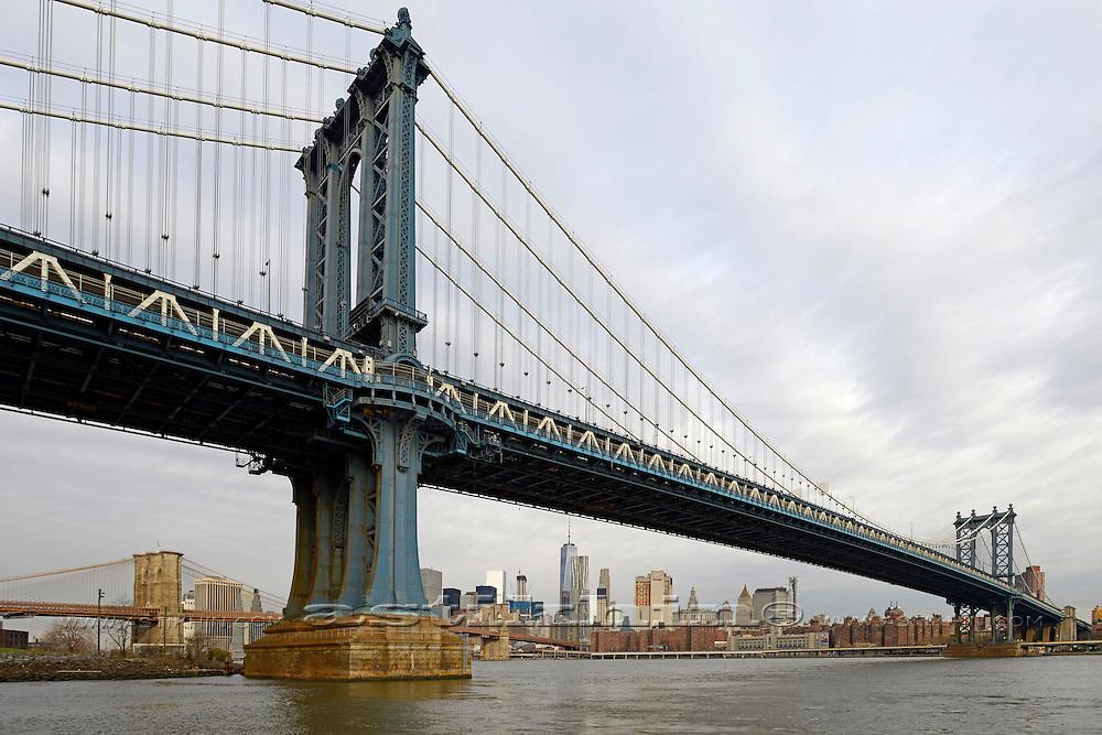 Manhattan Bridge and Brooklyn Bridge on East River, New York City.