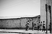 Boys play basketball in a small town in rural Mongolia.