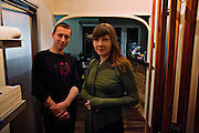 Emerging artists Nela Hasanbegovic and her husband Daniel Premec, photographed in their apartment which they are continually redesigning and renovating, incorporating their own art projects that they cannot store elsewhere. One of their side projects is working to conserve numerous salvaged artifacts and sculptures that they have found abandoned around Sarajevo in the aftermath of the war..