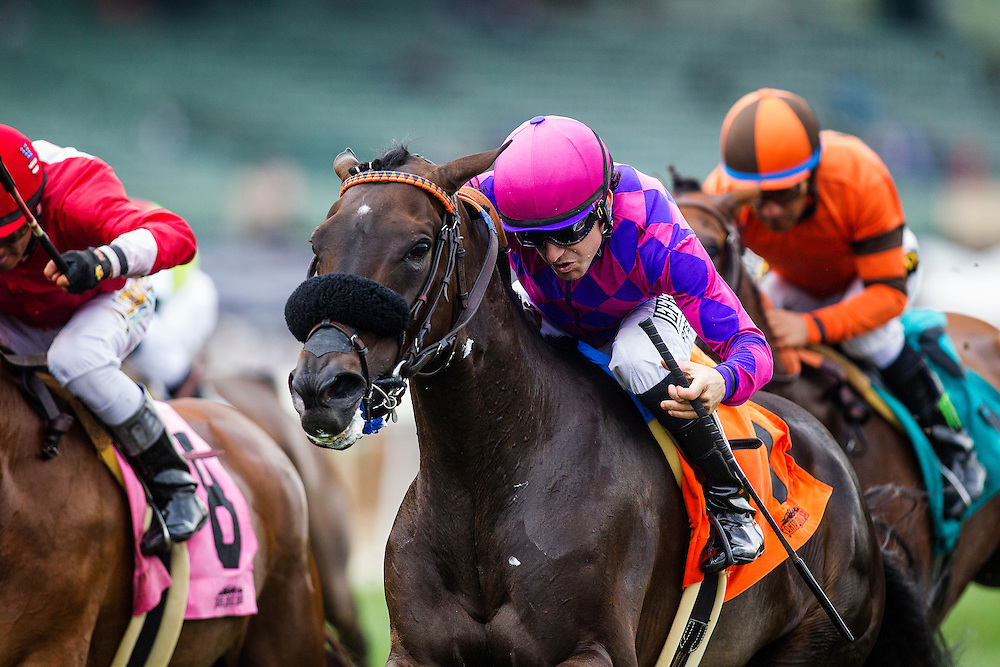 June 27 2015: Fanicola with Joe Talamo (right) wins the Royal Heroine Stakes at Santa Anita Park in Arcadia CA. Alex Evers/ESW/CSM