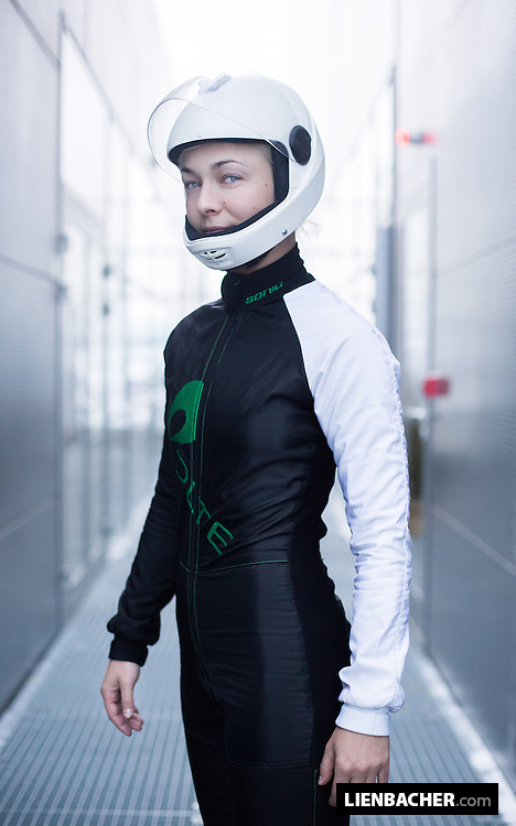 Finnish dancer and tunnel flying coach Inka Tiitto, shot in her flying gear at the SkydiveArena in Prague