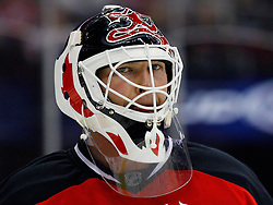 Oct 24, 2008; Newark, NJ, USA; New Jersey Devils goalie Martin Brodeur (30) during the third period of the Devils game against the Philadelphia Flyers at the Prudential Center. The Flyers defeated the Devils 6-3.