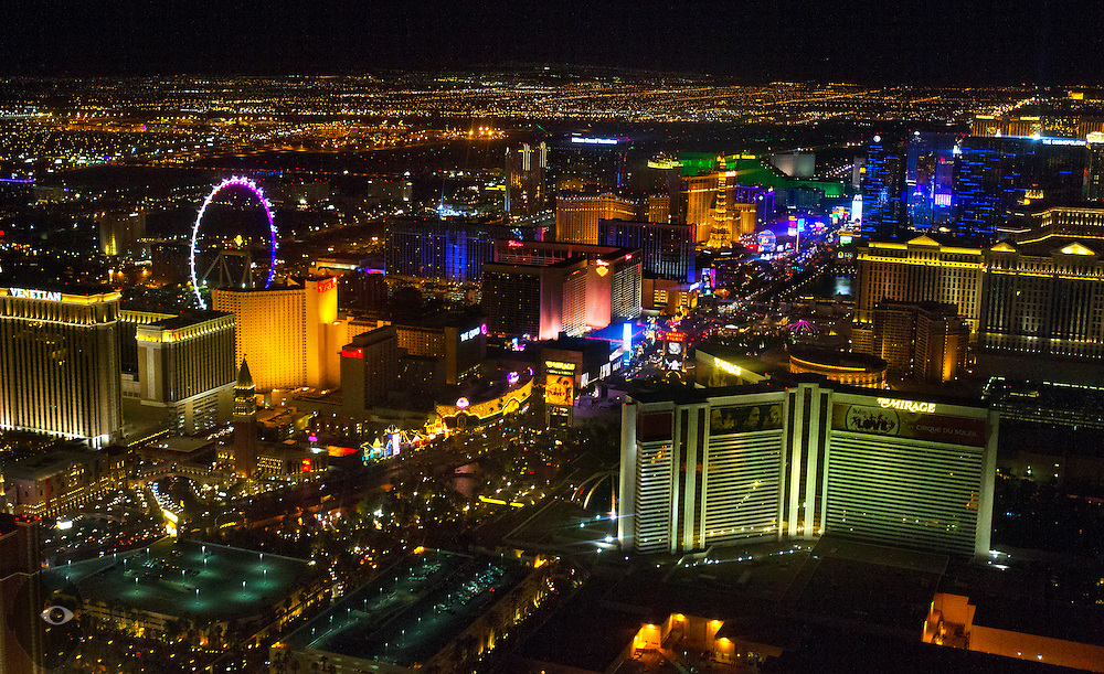 """View of the Las Vegas """"Strip"""" taken from a Maverick Helicopter on Friday, June 20, 2014.  L.E. Baskow"""